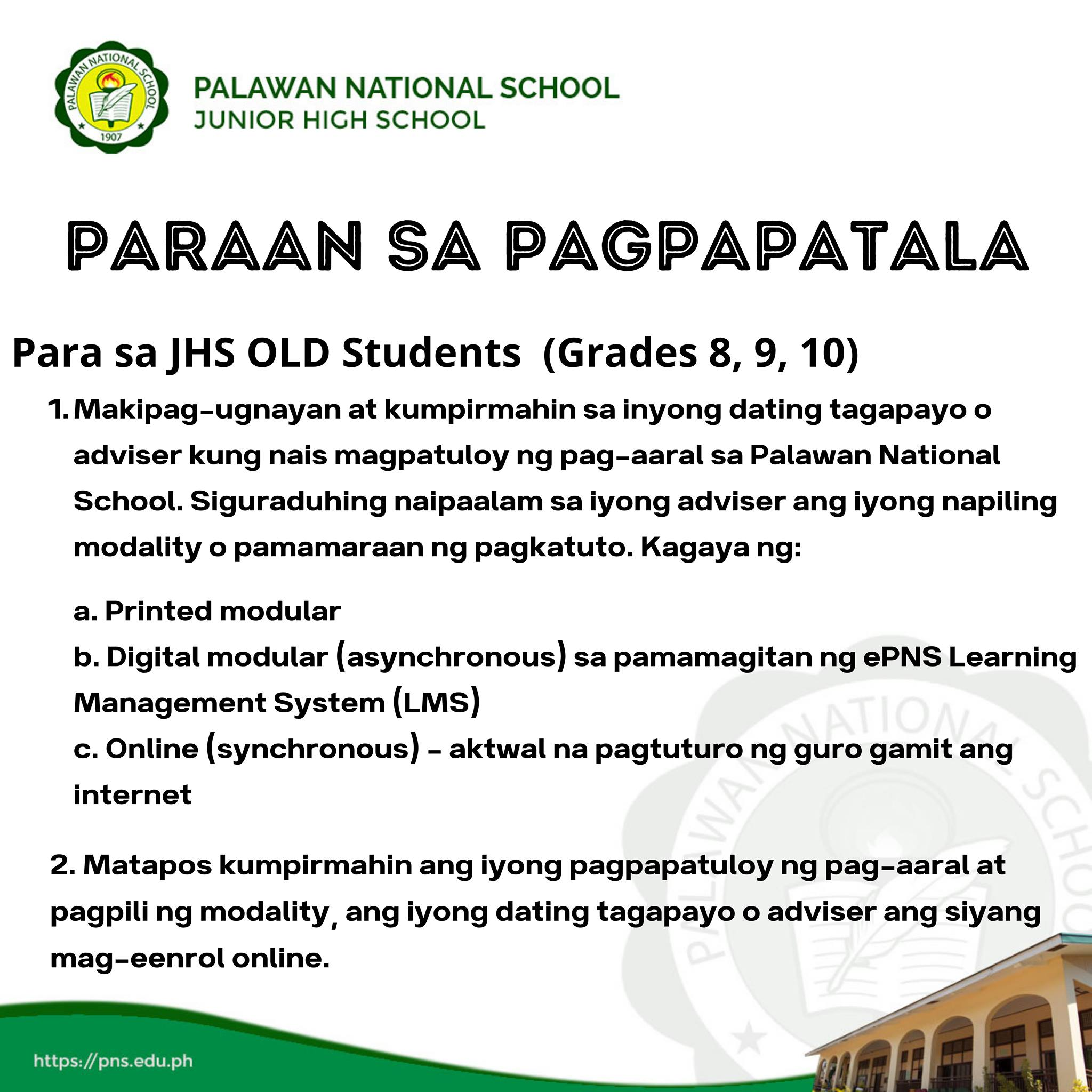 JHS Admission and Enrollment Guide Step 1 of 8