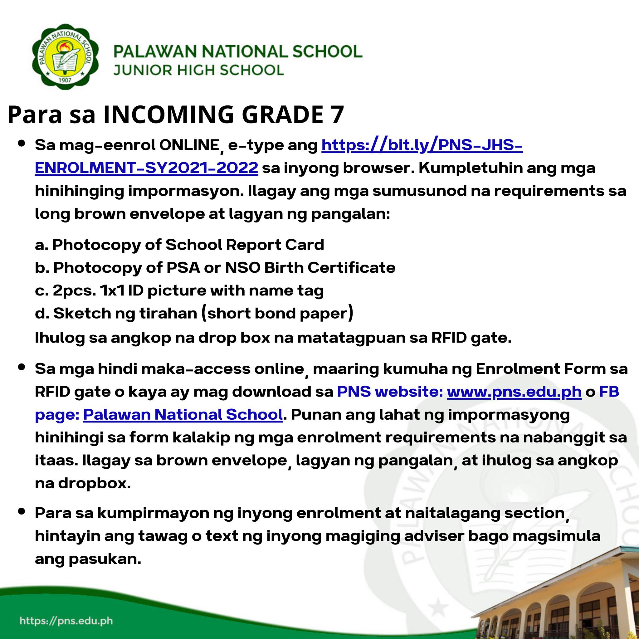 JHS Admission and Enrollment Guide Step 7 of 8
